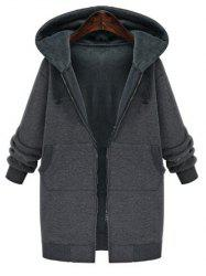 Plus Size Faux Fur Lining Hooded Coat -