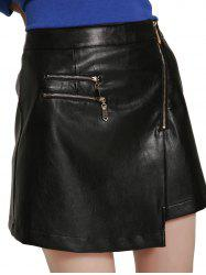 High Waisted Asymmetrical Mini PU Skirt -