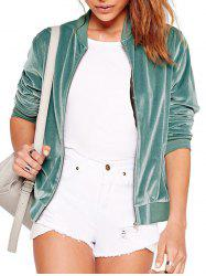 Zip Up Plain Velvet Bomber Jacket -