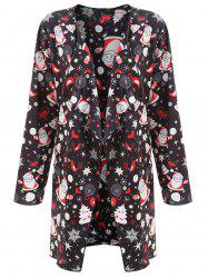 Father Christmas Printed Plus Size Long Draped Coat -