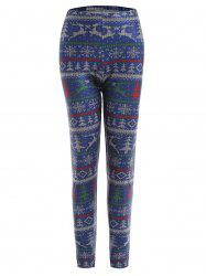 Plus Size Christmas Digital Elk Snowflake Print Leggings -