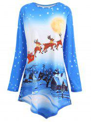 Plus Size Asymmetric Christmas Tunic Top -