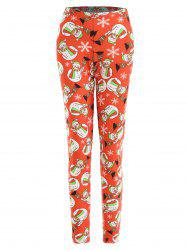 Plus Size Christmas Snowman Snowflake Print Leggings -