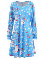 Christmas Santa Claus Star Heart Plus Size Tunic Dress -