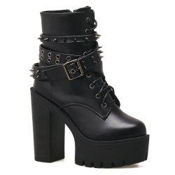 Rivets Buckle Strap Chunky Heel Boots -