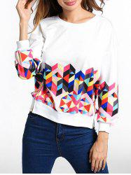Side Slit Geometric Pattern Sweatshirt -