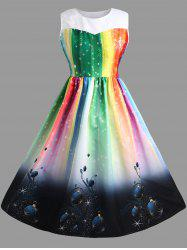 Sleeveless Rainbow  Plus Size Midi Christmas Dress -
