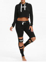 Crop Hoodie and  Cutout Letter Sports Leggings -