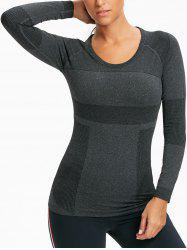 Ribbed Stretch Workout Long Sleeve Tee shirt -