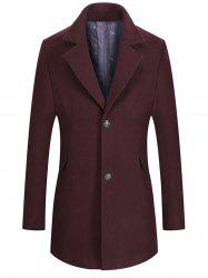 Two Button Notch Lapel Wool Blend Coat -