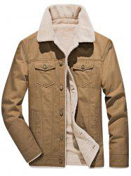 Button Flap Pocket Faux Shearling Denim Jacket -