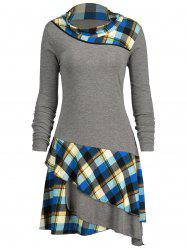 Plaid Panel Long Sleeve Layered Dress -