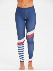 Gym High Rise Striped Panel Compression Leggings -