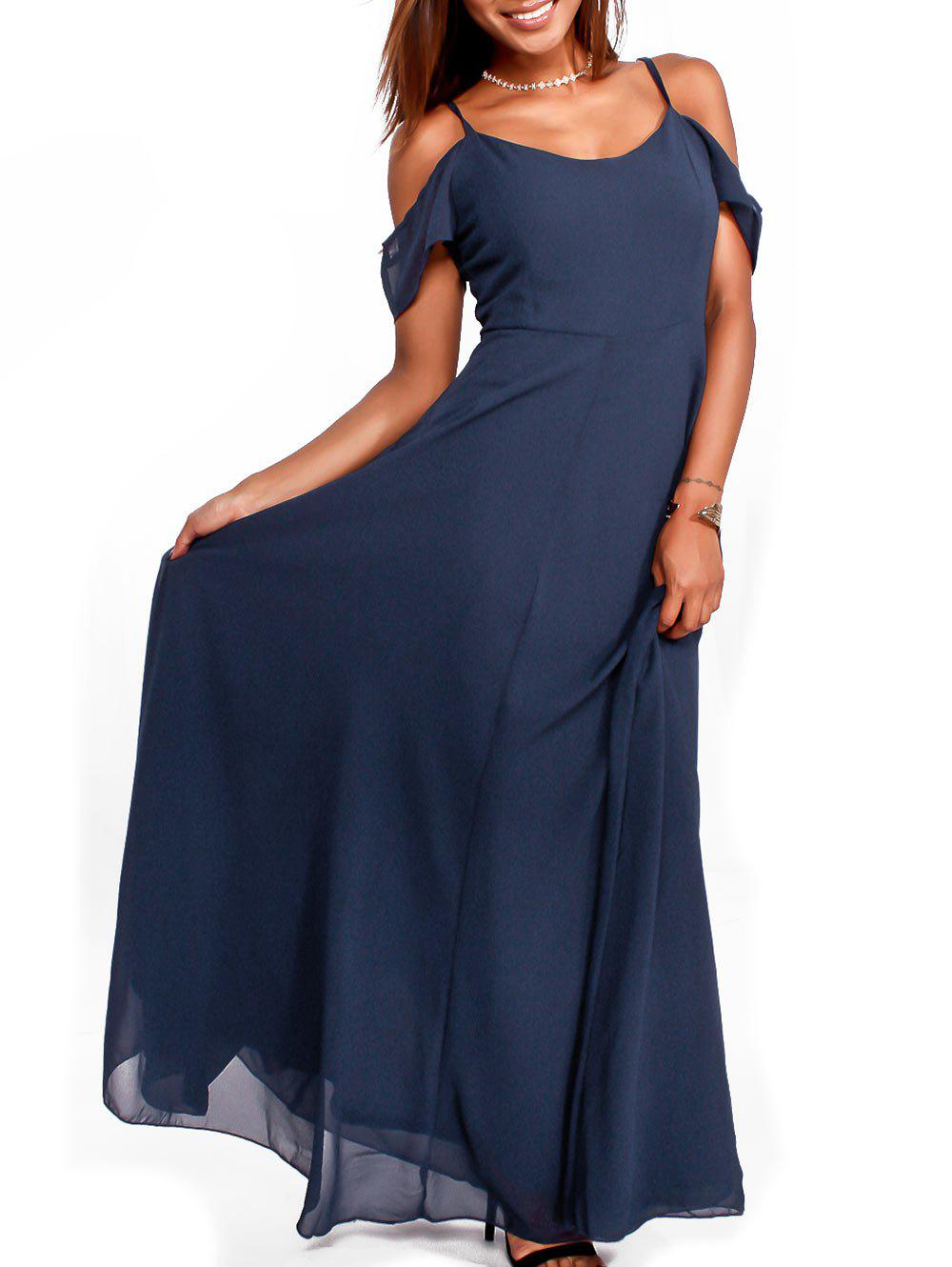 Chiffon Cold Shoulder Maxi Flowy DressWOMEN<br><br>Size: XL; Color: PURPLISH BLUE; Style: Brief; Material: Polyester; Silhouette: A-Line; Dresses Length: Floor-Length; Neckline: Spaghetti Strap; Sleeve Length: Short Sleeves; Pattern Type: Solid Color; With Belt: No; Season: Fall,Spring,Summer; Weight: 0.4500kg; Package Contents: 1 x Dress;