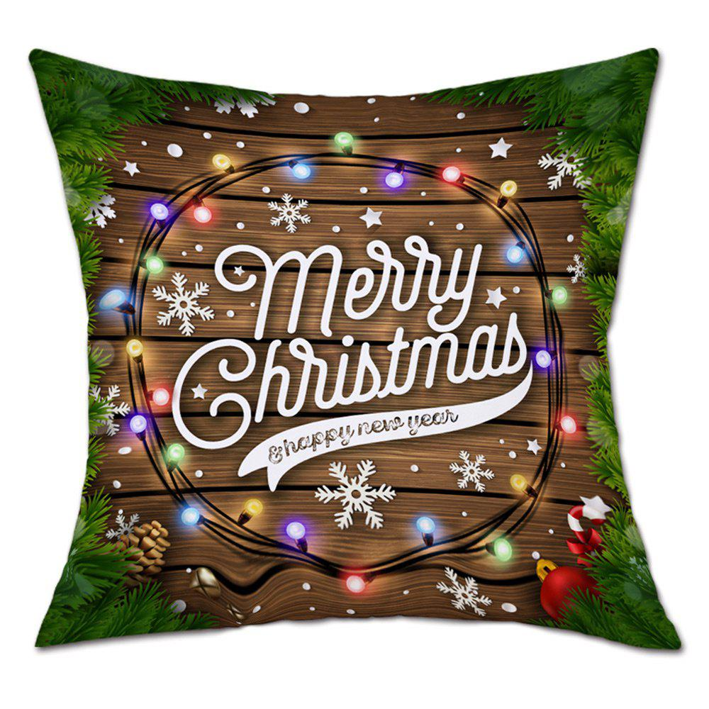 Christmas String Lights Print Decorative Linen PillowcaseHOME<br><br>Size: W18 INCH * L18 INCH; Color: COLORMIX; Material: Linen; Pattern: Letter,Wood Grain; Style: Festival; Shape: Square; Weight: 0.0900kg; Package Contents: 1 x Pillowcase;