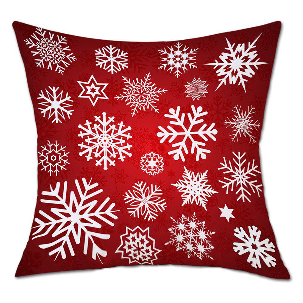 Snowflakes Christmas Print Decorative Linen PillowcaseHOME<br><br>Size: W18 INCH * L18 INCH; Color: RED; Material: Linen; Pattern: Snowflake; Style: Festival; Shape: Square; Weight: 0.0900kg; Package Contents: 1 x Pillowcase;