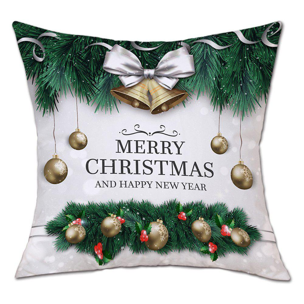 Christmas Baubles Bells Print Decorative Linen PillowcaseHOME<br><br>Size: W18 INCH * L18 INCH; Color: GREEN; Material: Linen; Pattern: Baubles; Style: Festival; Shape: Square; Weight: 0.0900kg; Package Contents: 1 x Pillowcase;
