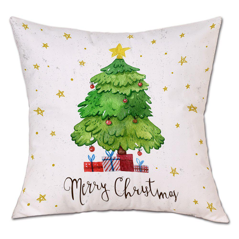 Christmas Tree Stars Print Decorative Linen PillowcaseHOME<br><br>Size: W18 INCH * L18 INCH; Color: WHITE; Material: Linen; Pattern: Letter,Star,Tree; Style: Festival; Shape: Round; Weight: 0.0900kg; Package Contents: 1 x Pillowcase;