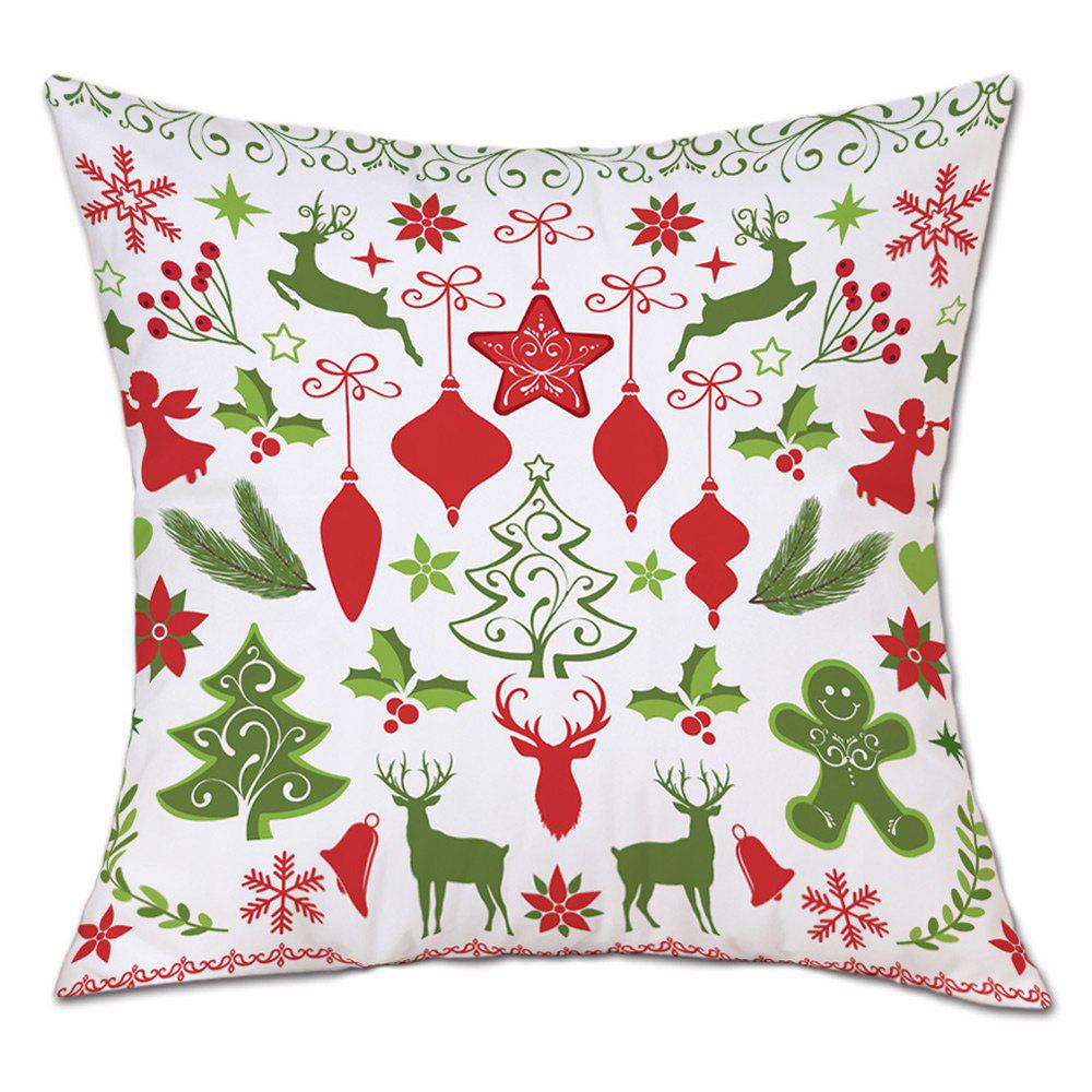Christmas Theme Pattern Decorative Linen PillowcaseHOME<br><br>Size: W18 INCH * L18 INCH; Color: COLORMIX; Material: Linen; Pattern: Animal,Tree; Style: Festival; Shape: Round; Weight: 0.0900kg; Package Contents: 1 x Pillowcase;