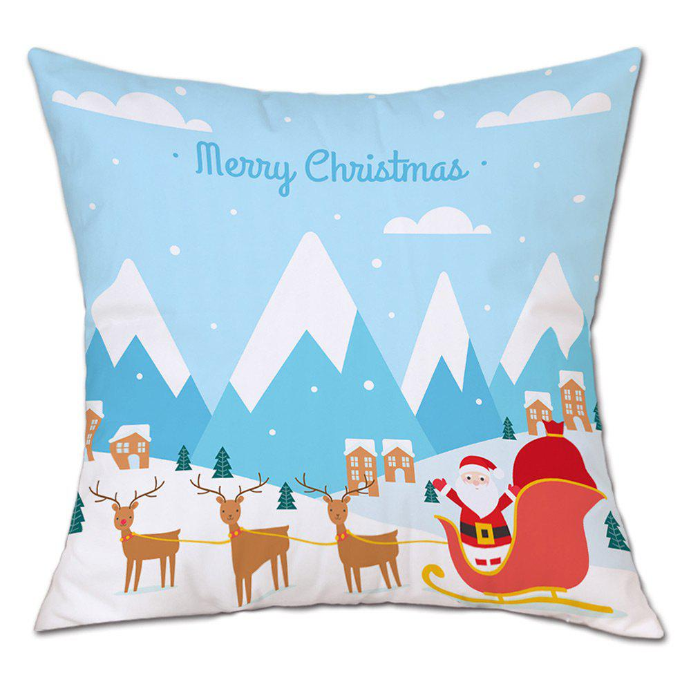 Christmas Village Sleigh Print Decorative Linen PillowcaseHOME<br><br>Size: W18 INCH * L18 INCH; Color: LIGHT BLUE; Material: Linen; Pattern: Animal,Cartoon,Santa Claus; Style: Festival; Shape: Square; Weight: 0.0900kg; Package Contents: 1 x Pillowcase;