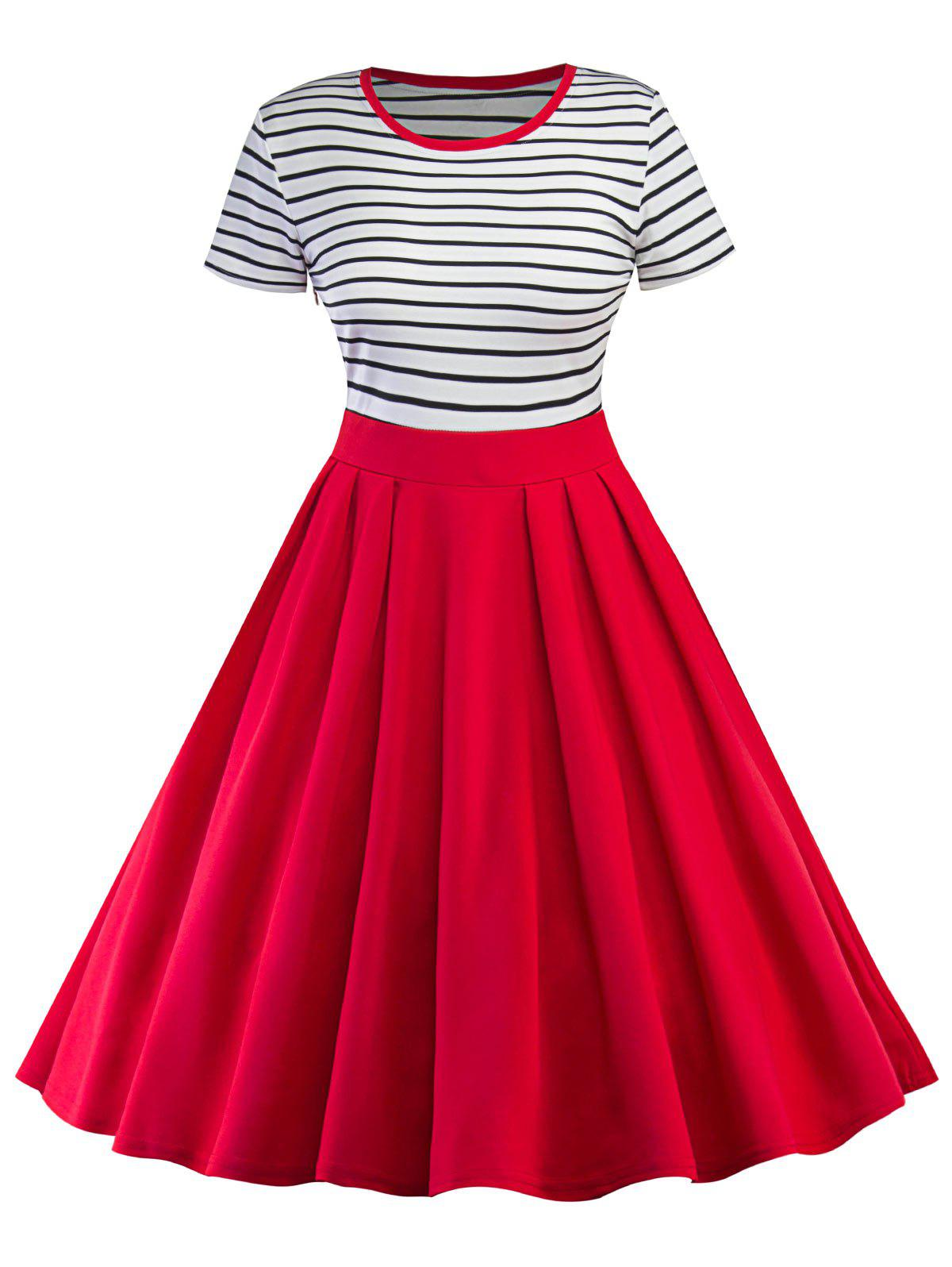 Vintage Striped Pin Up Skater DressWOMEN<br><br>Size: L; Color: RED; Style: Vintage; Material: Cotton,Polyester; Silhouette: A-Line; Dresses Length: Knee-Length; Neckline: Round Collar; Sleeve Length: Short Sleeves; Pattern Type: Striped; With Belt: No; Season: Fall,Spring; Weight: 0.4300kg; Package Contents: 1 x Dress;