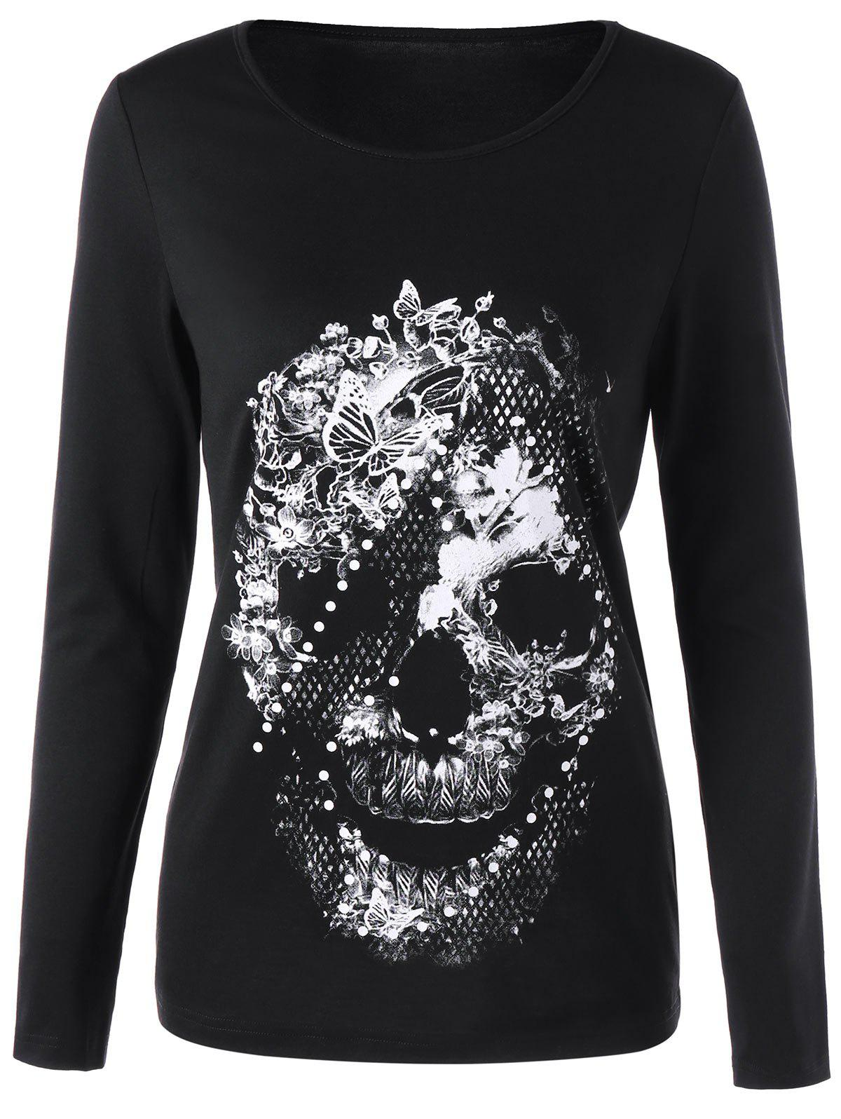 Skull Butterfly Long Sleeve T-shirtWOMEN<br><br>Size: XL; Color: BLACK; Material: Polyester,Spandex; Shirt Length: Regular; Sleeve Length: Full; Collar: Round Neck; Style: Casual; Pattern Type: Butterfly,Floral,Skull; Season: Fall,Spring; Weight: 0.2200kg; Package Contents: 1 x Skull;