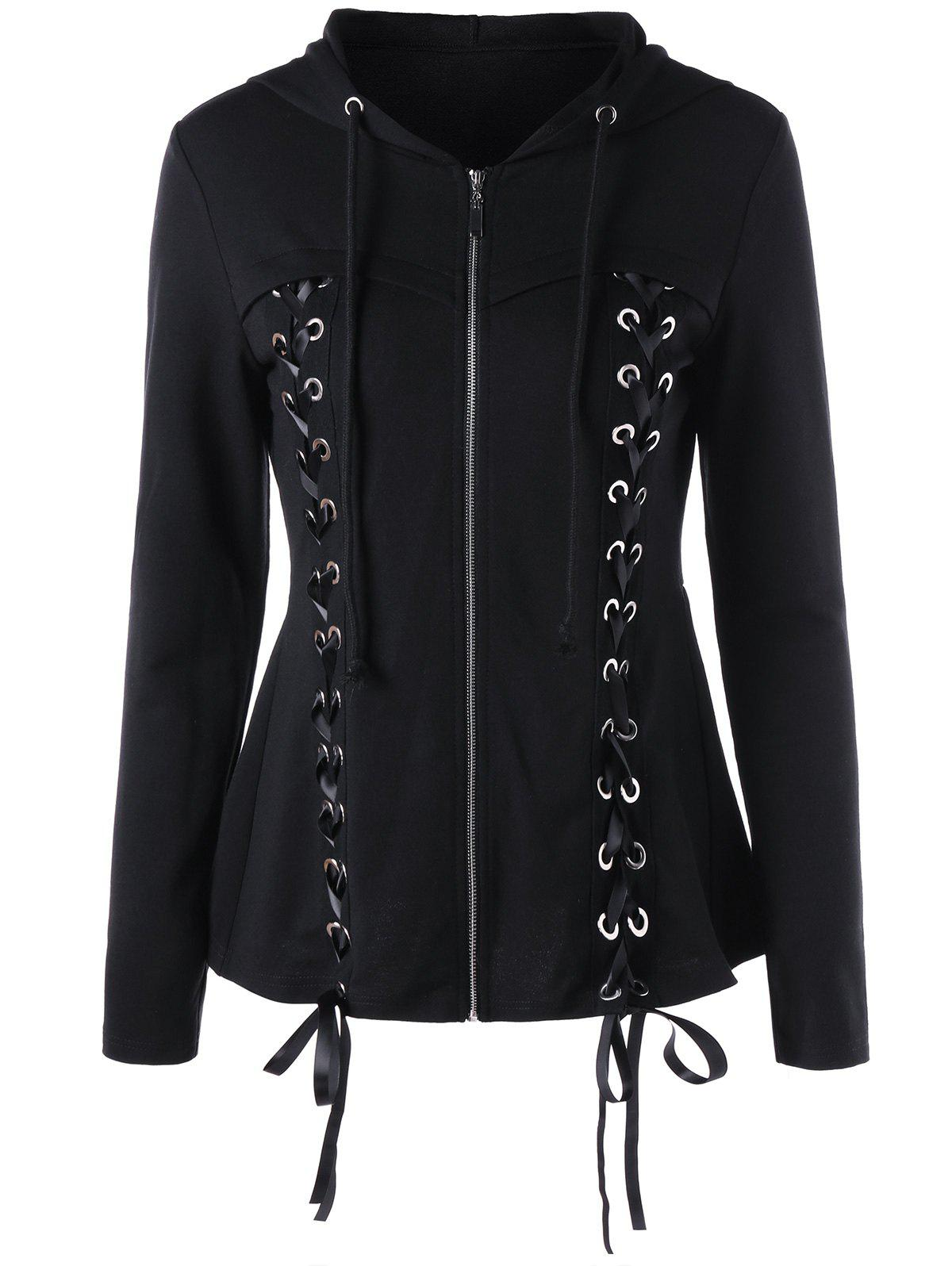 Drawstring Neck Lace Up HoodieWOMEN<br><br>Size: M; Color: BLACK; Material: Polyester; Shirt Length: Regular; Sleeve Length: Full; Style: Novelty; Pattern Style: Solid; Season: Fall,Spring; Weight: 0.4200kg; Package Contents: 1 x Hoodie;