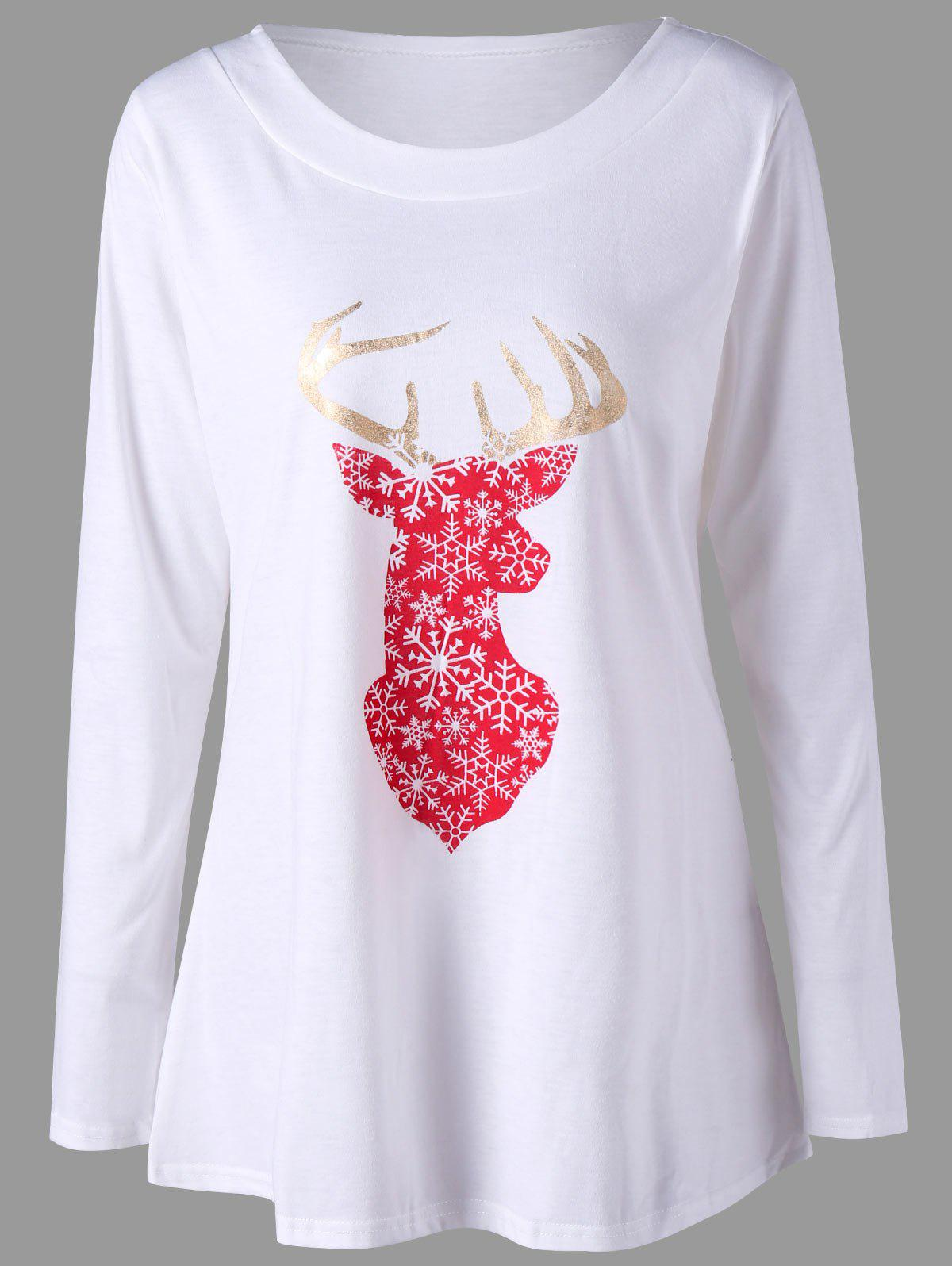 Christmas Reindeer Long Sleeve TeeWOMEN<br><br>Size: L; Color: WHITE; Material: Polyester,Spandex; Shirt Length: Long; Sleeve Length: Full; Collar: Round Neck; Style: Casual; Pattern Type: Animal Prints; Season: Fall,Spring; Weight: 0.2700kg; Package Contents: 1 x T-shirt;