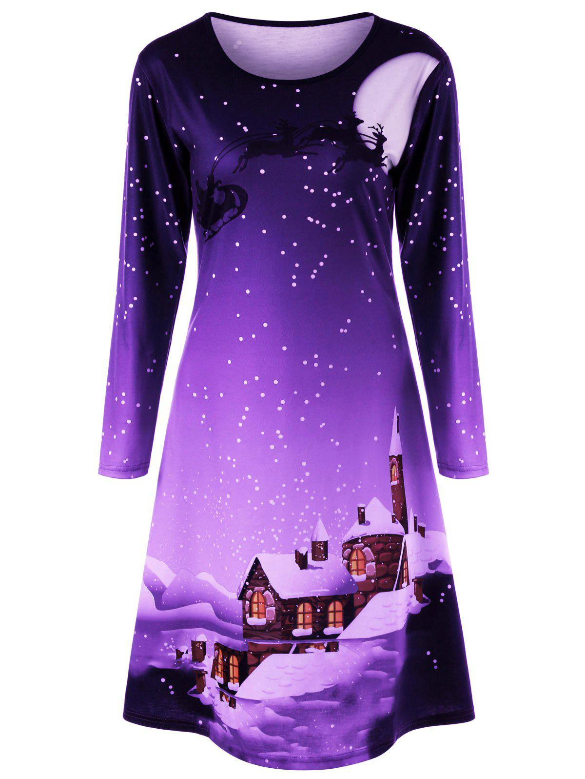 Christmas Plus Size Graphic Long Sleeve DressWOMEN<br><br>Size: XL; Color: PURPLE; Style: Brief; Material: Polyester,Spandex; Silhouette: A-Line; Dresses Length: Knee-Length; Neckline: Round Collar; Sleeve Length: Long Sleeves; Pattern Type: Others; With Belt: No; Season: Fall,Spring; Weight: 0.3600kg; Package Contents: 1 x Dress;