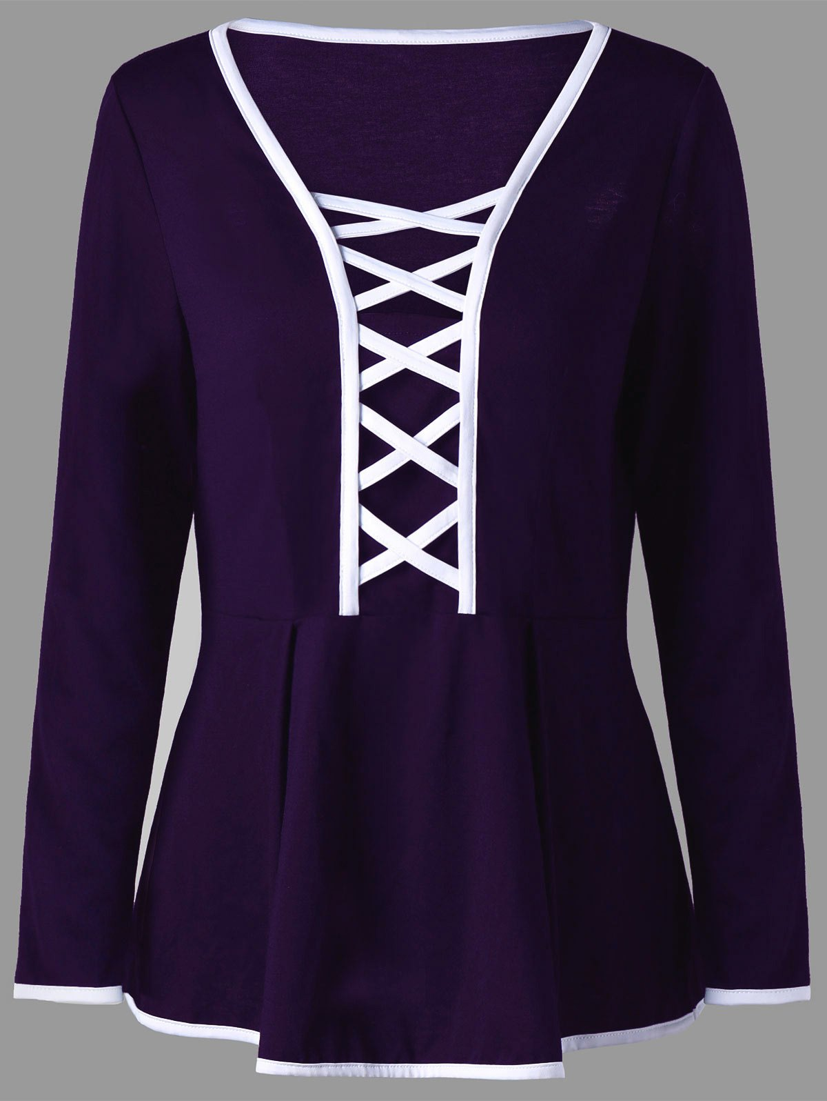 Plus Size Criss Cross Long Sleeve Peplum TopWOMEN<br><br>Size: 3XL; Color: CONCORD; Material: Polyester,Spandex; Shirt Length: Regular; Sleeve Length: Full; Collar: V-Neck; Style: Fashion; Season: Fall,Spring; Pattern Type: Solid; Weight: 0.2700kg; Package Contents: 1 x Top;