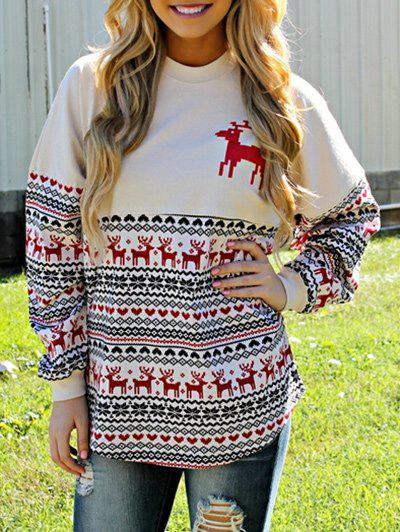 Merry Christmas Print and Elk SweatshirtWOMEN<br><br>Size: M; Color: COLORMIX; Material: Polyester; Shirt Length: Regular; Sleeve Length: Full; Style: Fashion; Pattern Style: Letter,Others; Season: Fall,Winter; Weight: 0.3500kg; Package Contents: 1 x Sweatshirt;