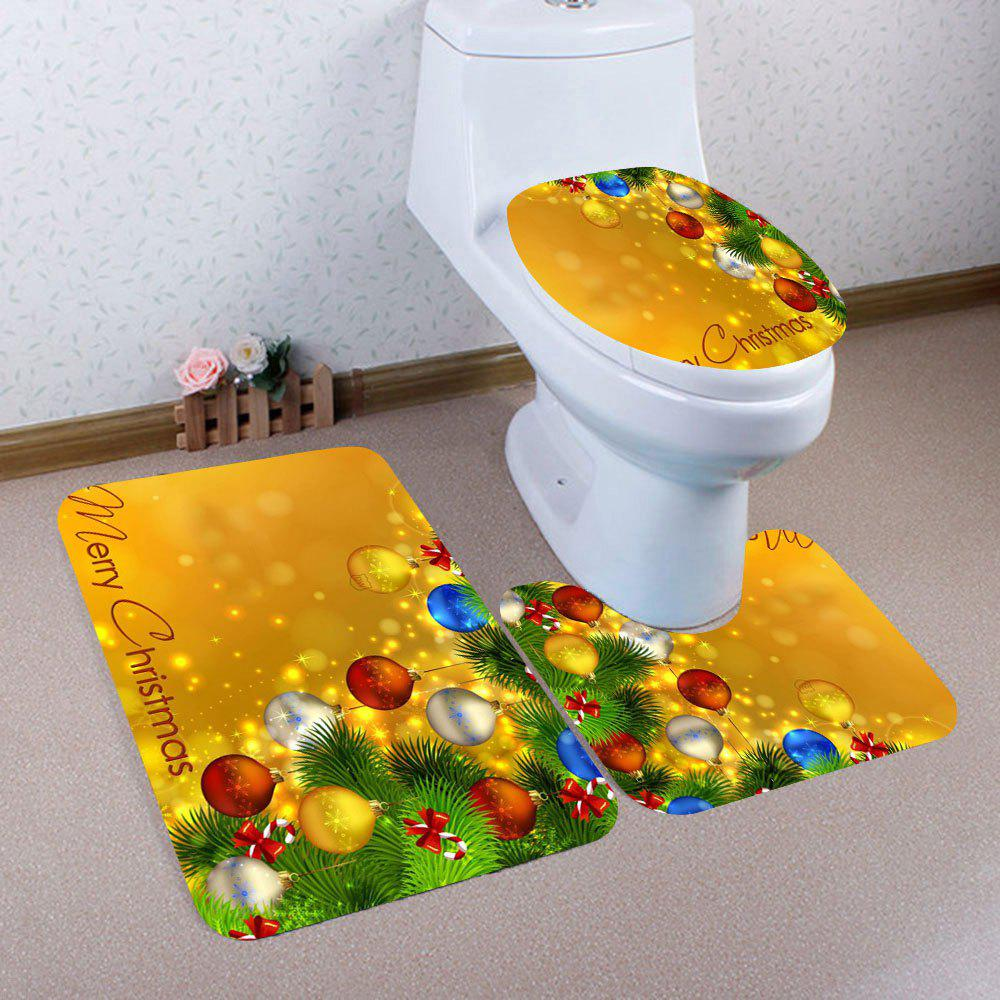 3Pcs Christmas Colored Ball Pattern Bath Toilet Mats SetHOME<br><br>Color: COLORFUL; Products Type: Toilet Mat Set; Materials: Coral FLeece; Pattern: Ball; Style: Festival; Size: Pedestal Rug: 40*40CM, Lid Toilet Cover: 40*45CM, Bath Mat: 40*60CM; Package Contents: 1 x Pedestal Rug 1 x Lid Toilet Cover 1 x Bath Mat;
