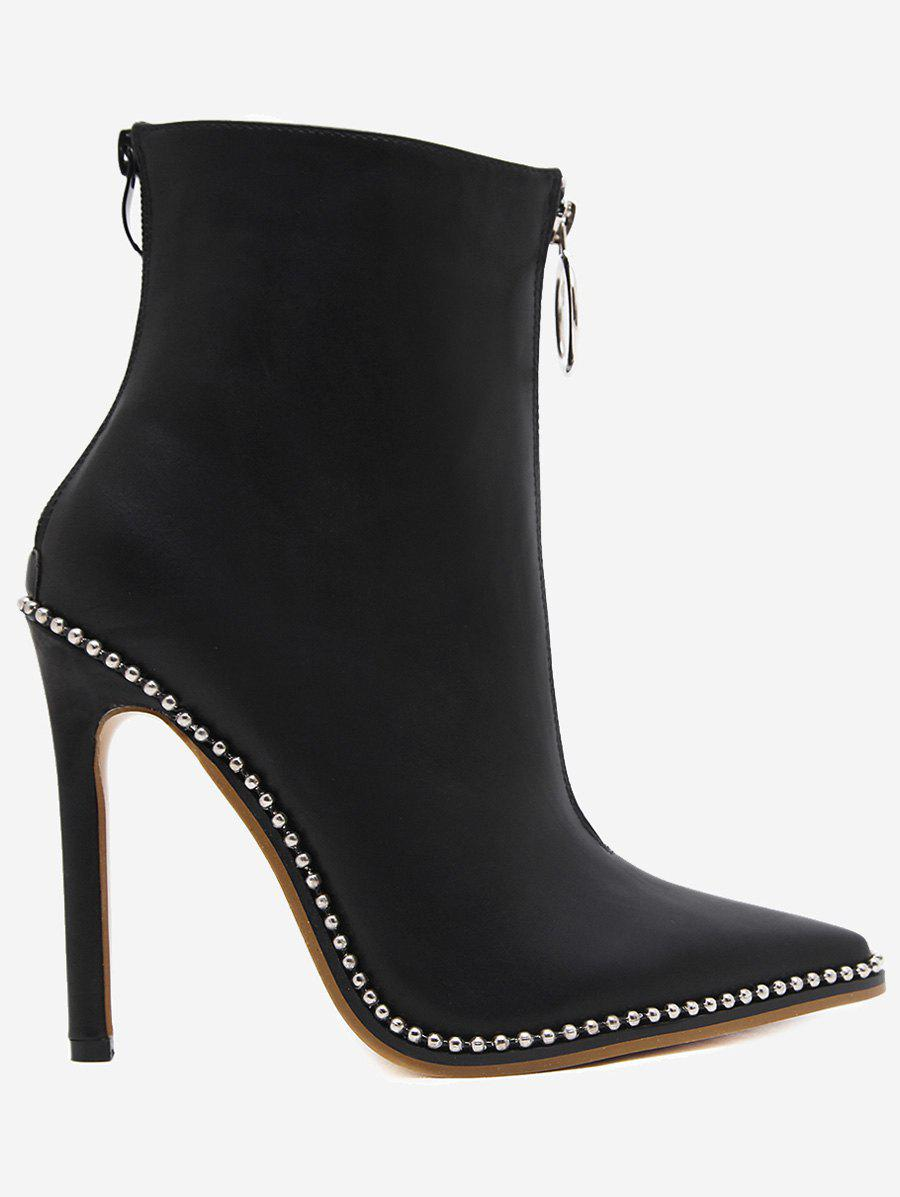 New Stiletto Heel Rivets Pointed Toe Boots