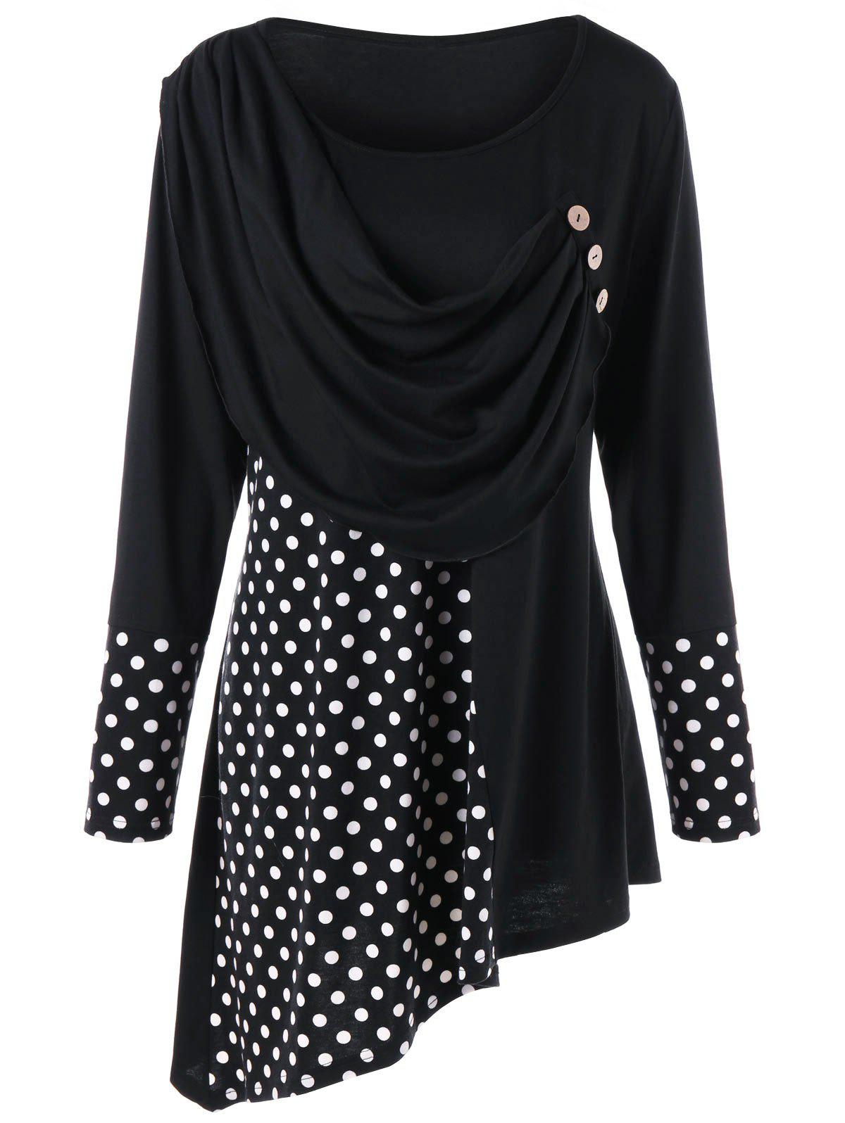 Plus Size Polka Dot Ruched Asymmetrical TopWOMEN<br><br>Size: 4XL; Color: BLACK; Material: Polyester; Shirt Length: Long; Sleeve Length: Full; Collar: Scoop Neck; Style: Casual; Season: Fall,Spring; Embellishment: Button; Pattern Type: Polka Dot; Weight: 0.3500kg; Package Contents: 1 x Top;