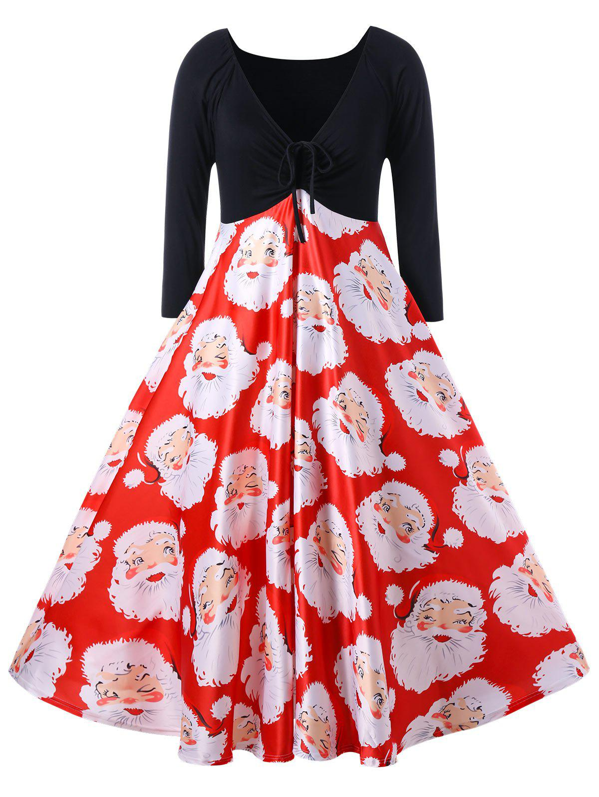 Cheap Plus Size Santa Claus Print Midi Christmas Dress