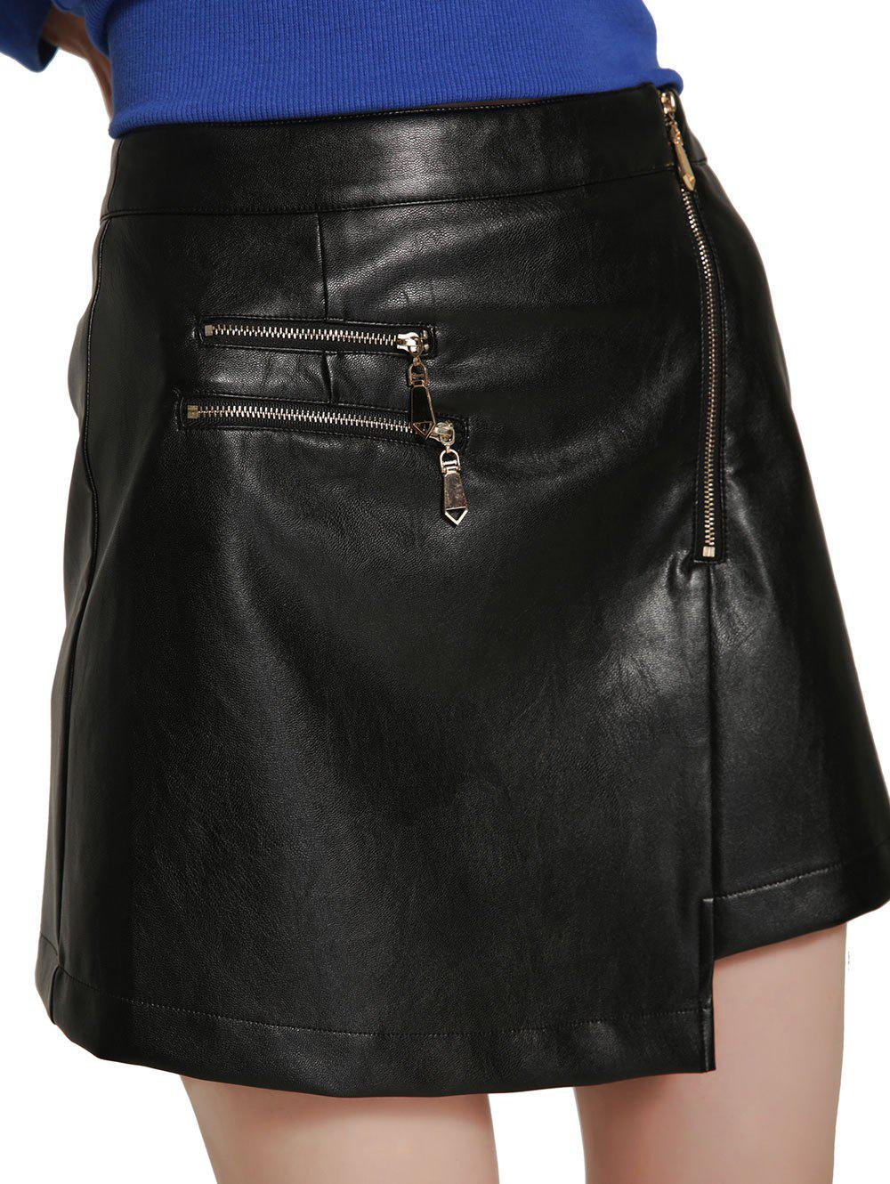 Shops High Waisted Asymmetrical Mini PU Skirt
