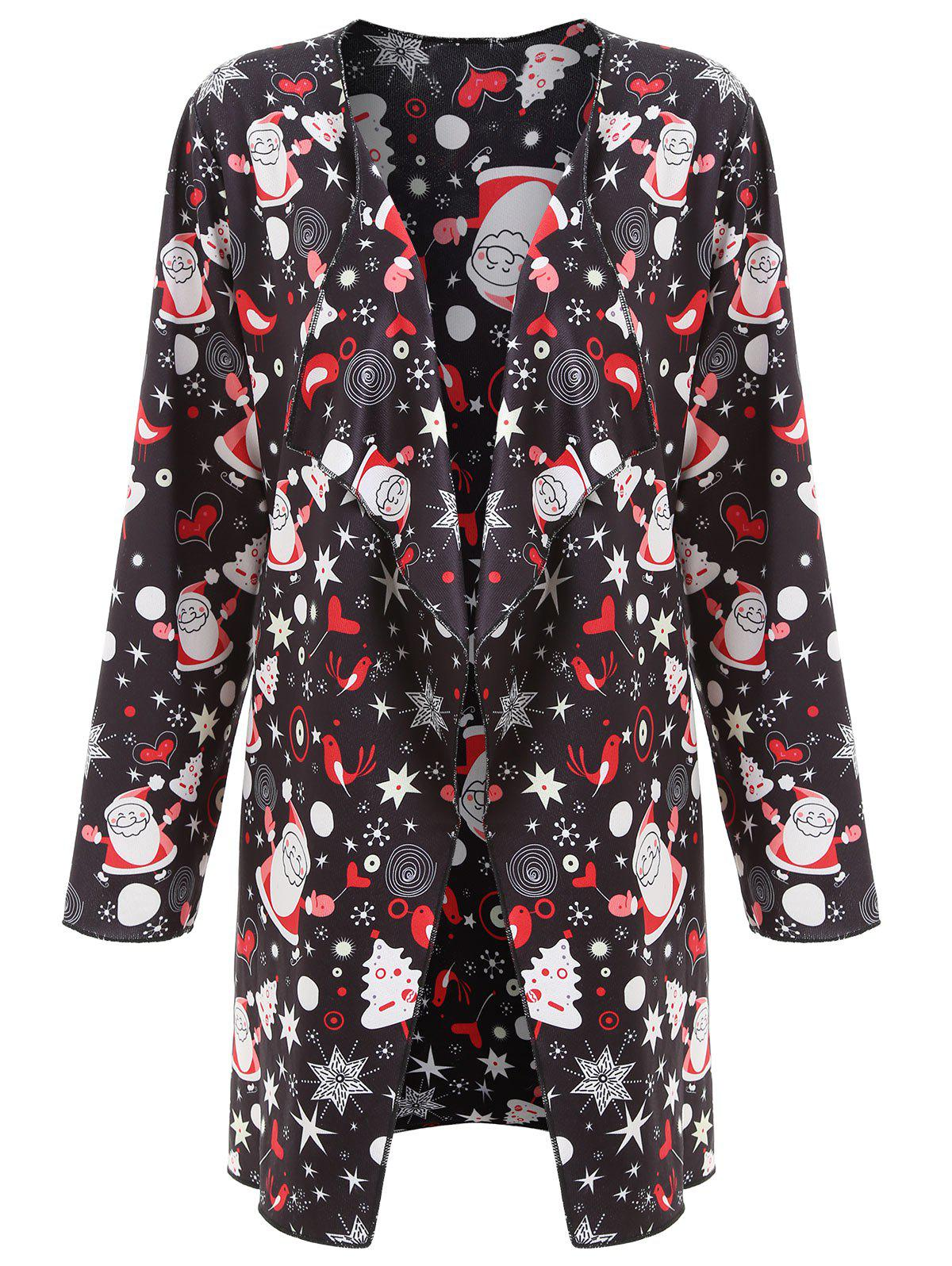 Father Christmas Printed Plus Size Long Draped CoatWOMEN<br><br>Size: XL; Color: BLACK; Clothes Type: Trench; Material: Polyester; Type: Asymmetric Length; Shirt Length: Long; Sleeve Length: Full; Collar: Collarless; Pattern Type: Print; Embellishment: Pattern; Style: Fashion; Season: Fall,Winter; Weight: 0.5700kg; Package Contents: 1 x Coat;