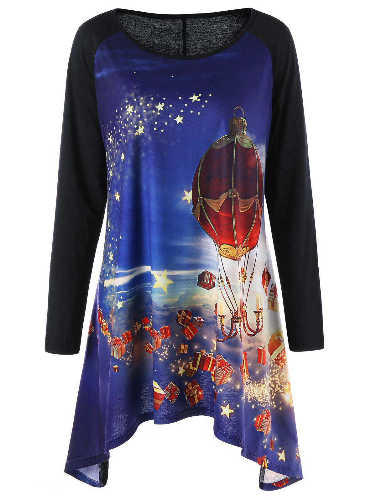Christmas Plus Size Crescent Hem Tunic TopWOMEN<br><br>Size: 2XL; Color: BLUE; Material: Polyester,Spandex; Shirt Length: Long; Sleeve Length: Full; Collar: Round Neck; Style: Casual; Season: Fall,Spring; Pattern Type: Others; Weight: 0.3200kg; Package Contents: 1 x Top;