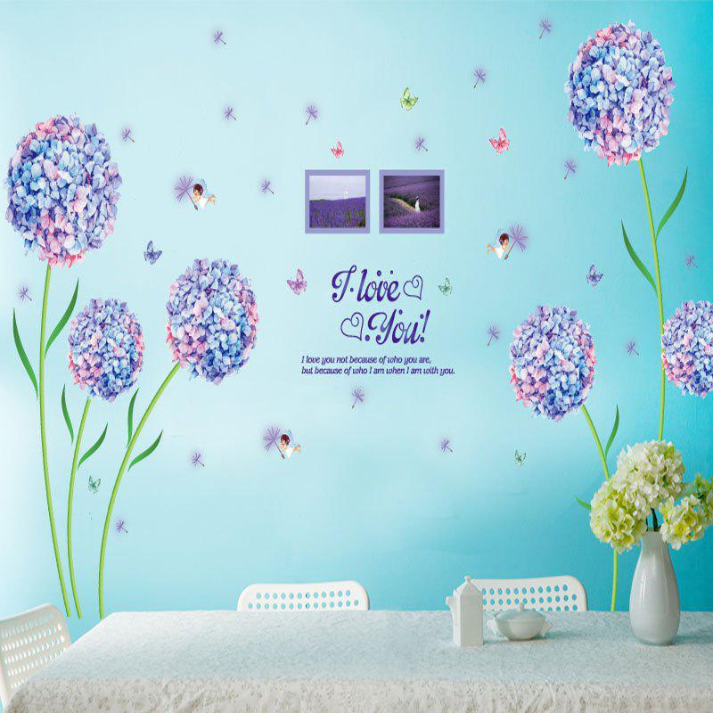 Flowers And Dandelion Love Pattern Wall StickerHOME<br><br>Color: PURPLE; Wall Sticker Type: Plane Wall Stickers; Functions: Decorative Wall Stickers; Theme: Florals; Pattern Type: Butterfly,Floral,Letter; Material: PVC; Feature: Removable; Weight: 0.1920kg; Package Contents: 1 x Wall Sticker;