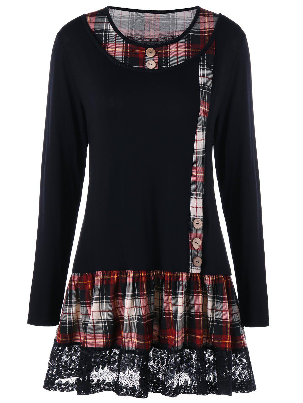 Plus Size Plaid Buttons Lace Panel Long Sleeve T-shirtWOMEN<br><br>Size: 2XL; Color: BLACK; Material: Cotton,Polyester; Shirt Length: Long; Sleeve Length: Full; Collar: Scoop Neck; Style: Fashion; Season: Fall,Spring; Embellishment: Button,Lace,Panel; Pattern Type: Plaid; Weight: 0.3300kg; Package Contents: 1 x T-shirt;