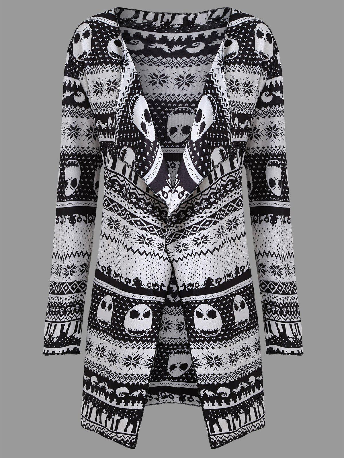 Plus Size Halloween Skull Long Draped CoatWOMEN<br><br>Size: 5XL; Color: WHITE AND BLACK; Clothes Type: Trench; Material: Polyester; Type: Slim; Shirt Length: Long; Sleeve Length: Full; Collar: Collarless; Pattern Type: Skulls; Embellishment: Pattern; Style: Fashion; Season: Fall; Weight: 0.5700kg; Package Contents: 1  x Coat;