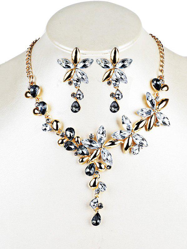 Vintage Crystal Floral Embellished Alloy Pendent Necklace Earrings SetJEWELRY<br><br>Color: WHITE; Item Type: Pendant Necklace; Gender: For Women; Style: Trendy; Shape/Pattern: Floral; Weight: 0.0630kg; Package Contents: 1 x Necklace 1 x Earrings (Pair);