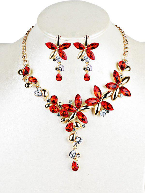 Trendy Vintage Crystal Floral Embellished Alloy Pendent Necklace Earrings Set