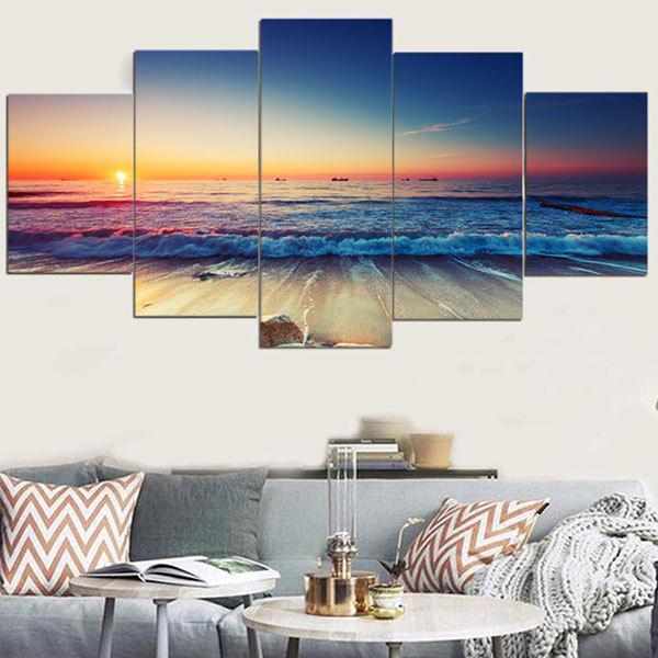 Sunset Seascape Pattern Wall Art Canvas PaintingsHOME<br><br>Size: 1PC:8*20,2PCS:8*12,2PCS:8*16 INCH( NO FRAME ); Color: COLORFUL; Subjects: Landscape; Product Type: Art Print; Features: Decorative; Style: Fashion; Hang In/Stick On: Bathroom,Bedrooms,Cafes,Hotels,Kids Room,Kitchen,Living Rooms,Lobby,Nurseries,Offices,Stair; Form: Five Panels; Frame: No; Material: Canvas; Package Contents: 1 x Canvas Paintings (Set);