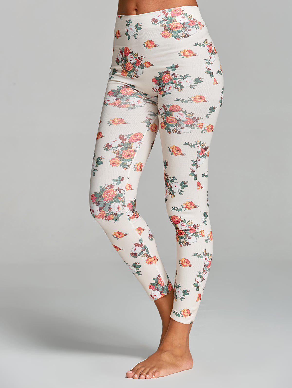 Floral Printed High Waist Yoga LeggingsWOMEN<br><br>Size: ONE SIZE; Color: WHITE; Style: Active; Length: Normal; Material: Polyester; Fit Type: Skinny; Waist Type: High; Closure Type: Elastic Waist; Pattern Type: Floral; Pant Style: Pencil Pants; Elasticity: Elastic; Weight: 0.1600kg; Package Contents: 1 x Leggings;