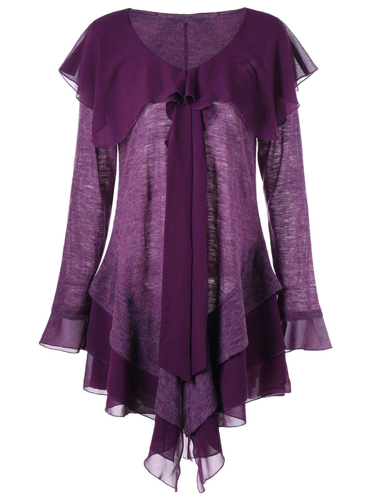 Plus Size Panel Long Sleeve Asymmetric Tiered DressWOMEN<br><br>Size: XL; Color: PURPLE; Style: Casual; Material: Polyester,Spandex; Silhouette: Asymmetrical; Dresses Length: Knee-Length; Neckline: V-Neck; Sleeve Type: Flare Sleeve; Sleeve Length: Long Sleeves; Embellishment: Panel; Pattern Type: Others; With Belt: No; Season: Fall,Spring; Weight: 0.3500kg; Package Contents: 1 x Dress;