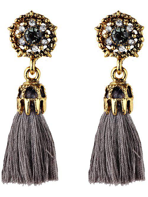 Vintage Rhinestone Embellished Artificial Gem Tassel Drop Earrings, Gray
