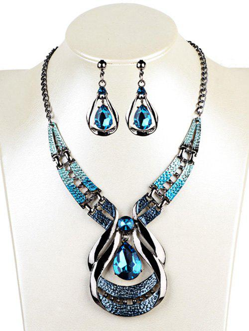 Affordable Vintage Water Drop Shape Faux Sapphire Necklace Earrings Set