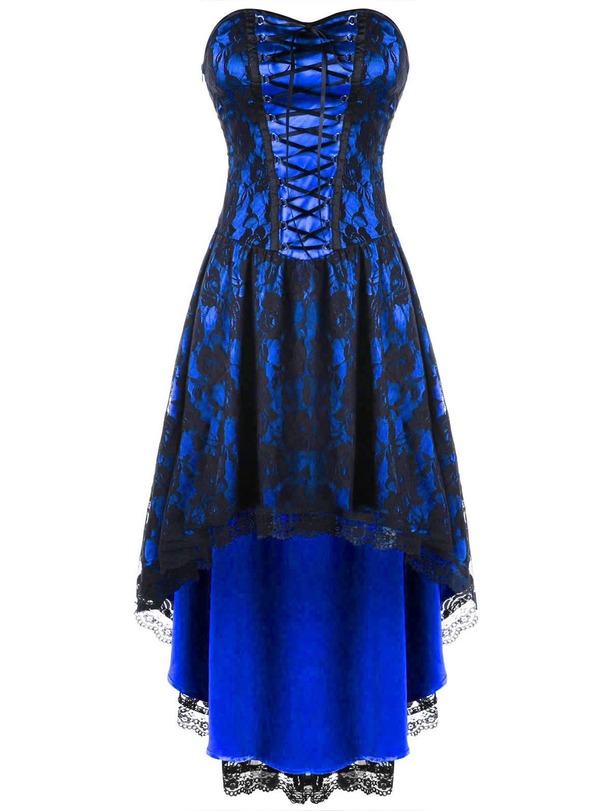 Lace Up Strapless Dip Hem Corset DressWOMEN<br><br>Size: L; Color: BLUE; Style: Vintage; Material: Nylon,Spandex; Silhouette: A-Line; Dresses Length: Knee-Length; Neckline: Strapless; Sleeve Length: Sleeveless; Embellishment: Lace; Pattern Type: Floral; With Belt: No; Season: Fall,Spring; Weight: 0.4000kg; Package Contents: 1 x Dress;