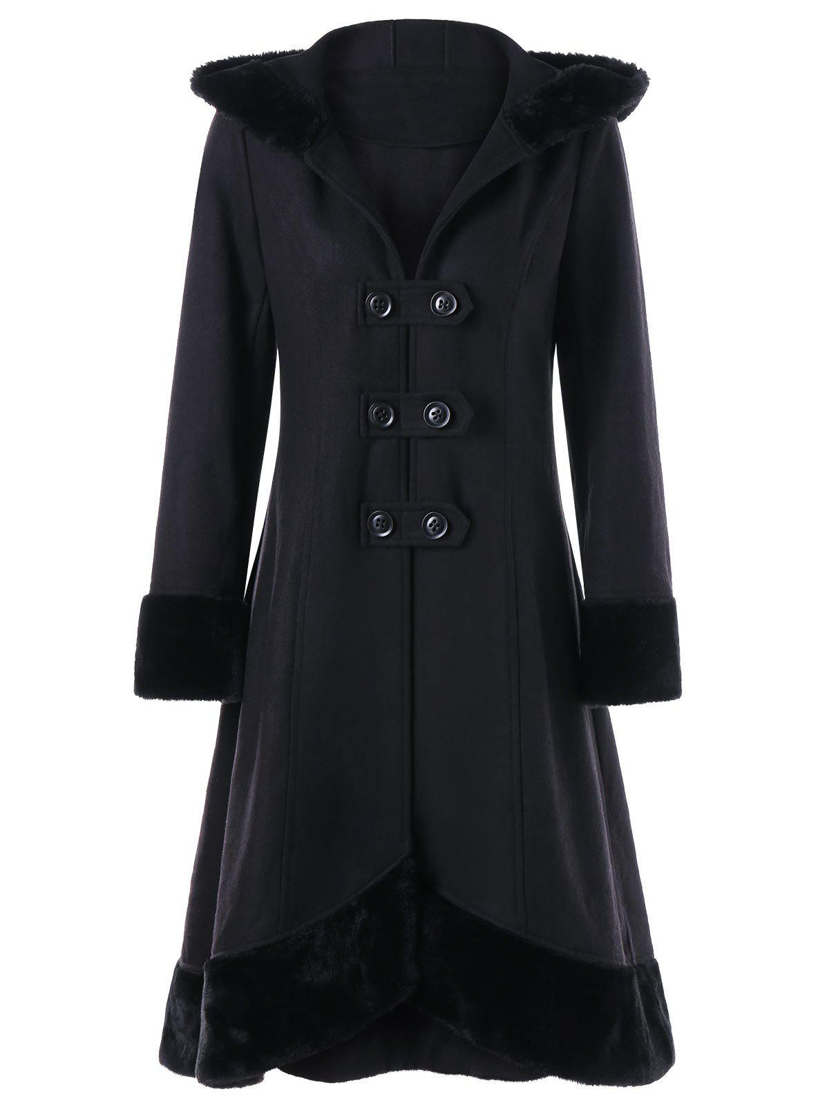 Lace Up Faux Fur Hem Hooded Dress CoatWOMEN<br><br>Size: XL; Color: BLACK; Clothes Type: Wool &amp; Blends; Material: Polyester; Type: Slim; Shirt Length: Long; Sleeve Length: Full; Collar: Hooded; Pattern Type: Solid; Style: Vintage; Season: Fall,Spring; Weight: 1.1700kg; Package Contents: 1 x Coat;